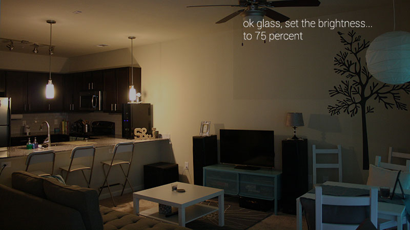 Control light brightness with LampShade on Google Glass